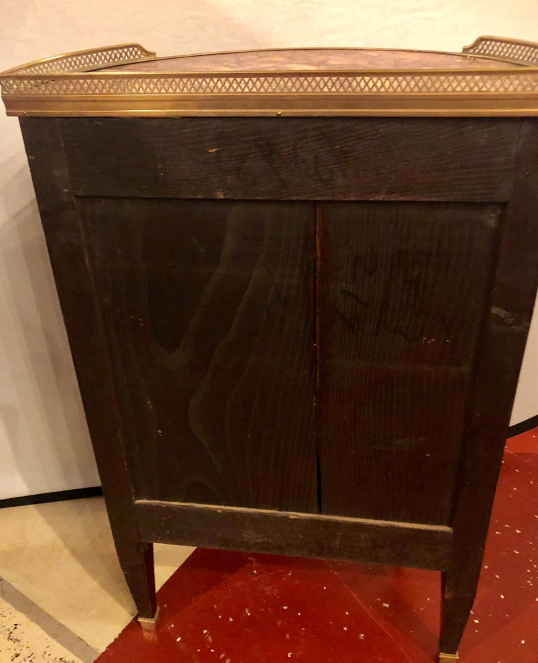 Pair of 19th Century Bronze Mounted Demilune End Tables or Nightstands For Sale 10