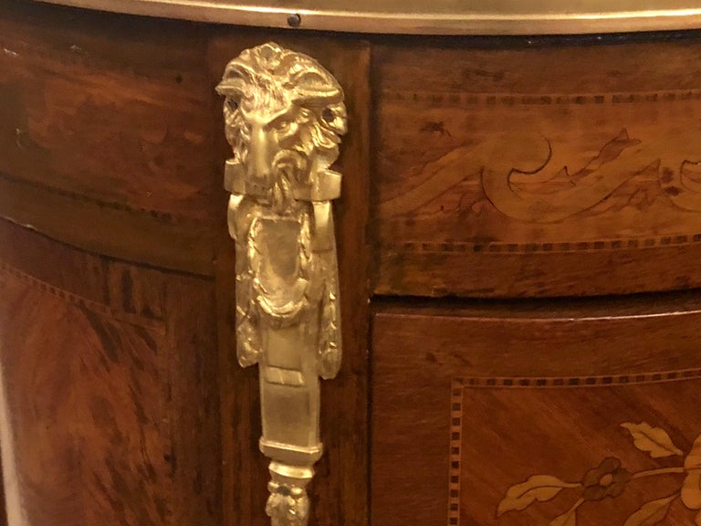 French Pair of 19th Century Bronze Mounted Demilune End Tables or Nightstands For Sale