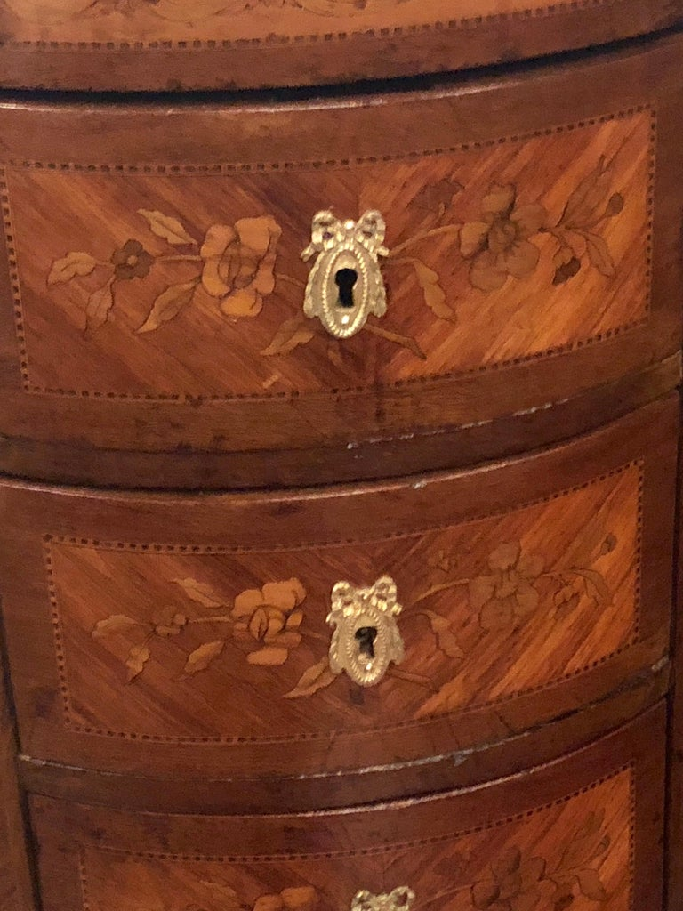 Pair of 19th Century Bronze Mounted Demilune End Tables or Nightstands In Good Condition For Sale In Stamford, CT