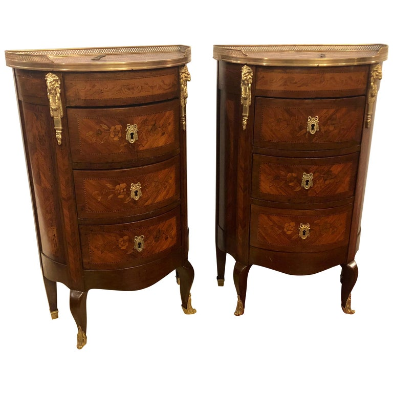 Pair of 19th Century Bronze Mounted Demilune End Tables or Nightstands For Sale