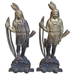 Pair of 19th Century Bronze Native American Indian Andirons