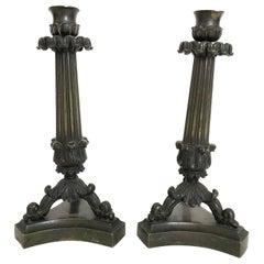 Pair of  19th Century Bronze Neoclassical Candlesticks