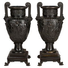 Pair of 19th Century Bronze Neoclassical Urns