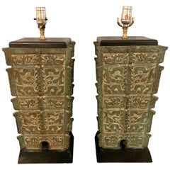 Pair of 19th Century Bronze Oriental Table Lamps, Large and Impressive