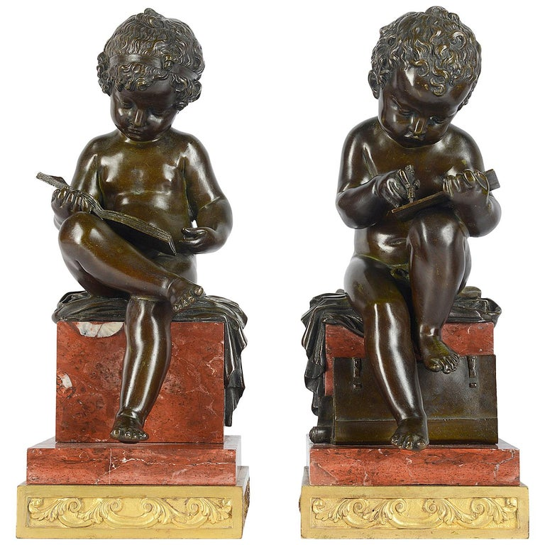 Pair of 19th Century Bronze Putti For Sale