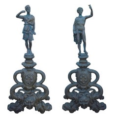 Pair of 19th Century Bronze Statue Andirons