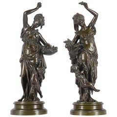Pair of 19th Century Bronze Statues by Carrier Belleuse