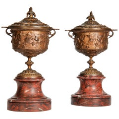 Pair of 19th Century Bronze Urns