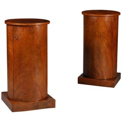 Pair of 19th Century Brown Flame Mahogany Wood Bedside Pedestal Tables/Cupboards