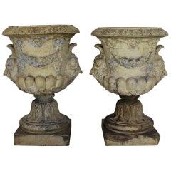 Pair of 19th Century Buff Terracotta Garden Urns by Garnkirk