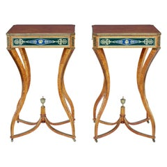 Pair of 19th Century Burr Birch Russian Occasional Tables