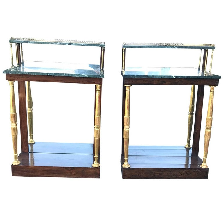 Pair of 19th Century circa 1820 English Regency Style Marble-Top Consoles