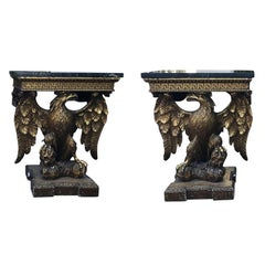 Pair of 19th Century, George III Style Giltwood Eagle Consoles, circa 1830