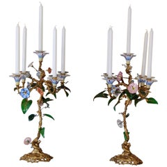 Pair of 19th Century Candelabra with Gilt Brass Stems, Glass & Porcelain Flowers