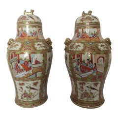 Pair of 19th Century Cantonese Famille Rose Chinese Porcelain Vases