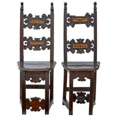 Pair of 19th Century Carolean Inspired Hall Chairs