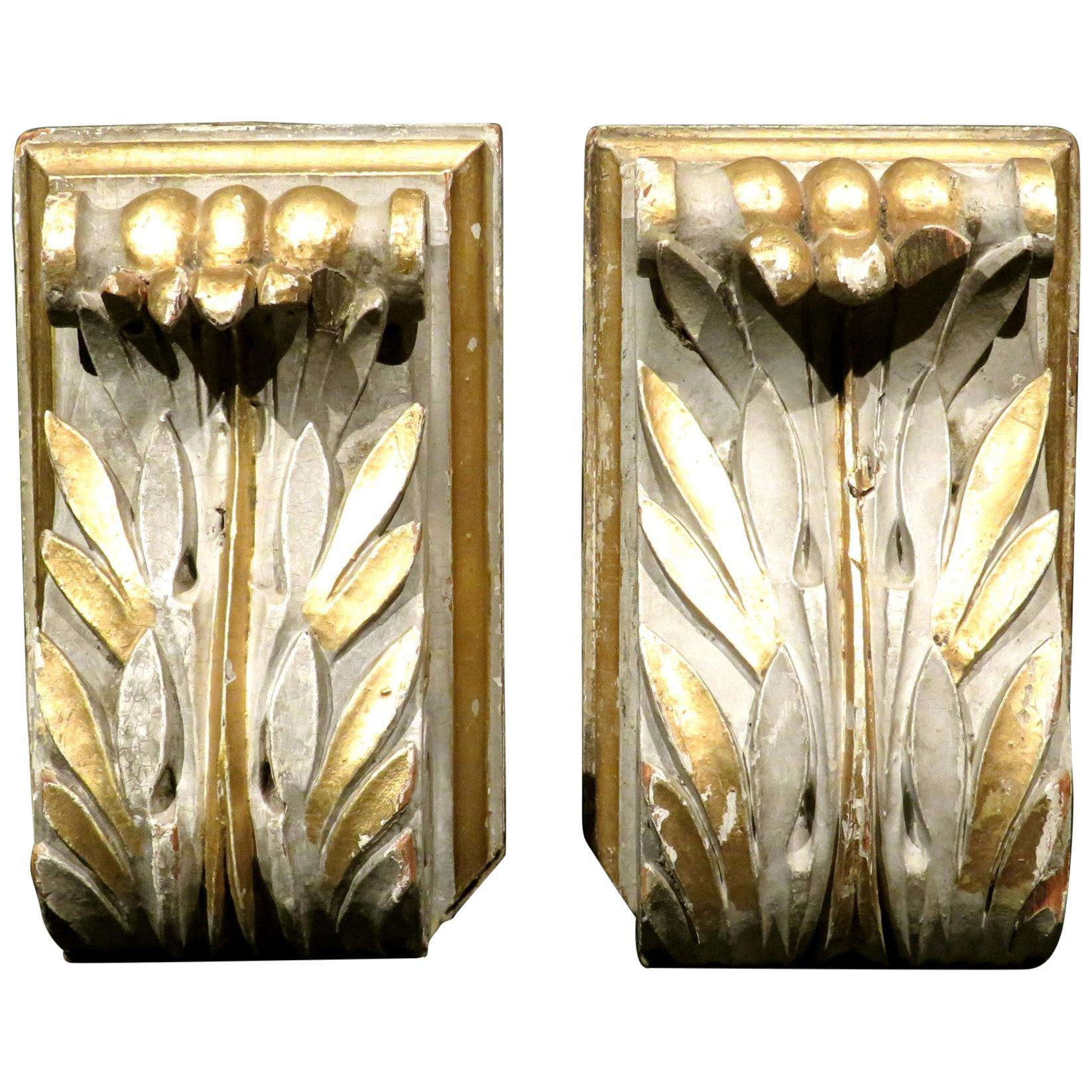 Pair of 19th Century Carved & Gilded Corbels Converted to Bookends, Circa 1890