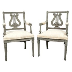 Pair of 19th Century Carved and Paint Decorated Lyre Back Armchairs