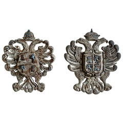 Pair of 19th Century Carved Coat of Arms