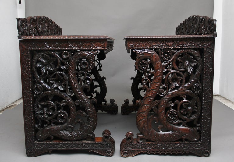 Indian Pair of 19th Century Carved Console Tables For Sale