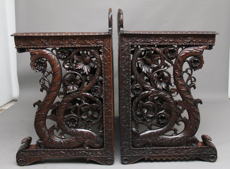 Mid-19th Century Pair of 19th Century Carved Console Tables For Sale