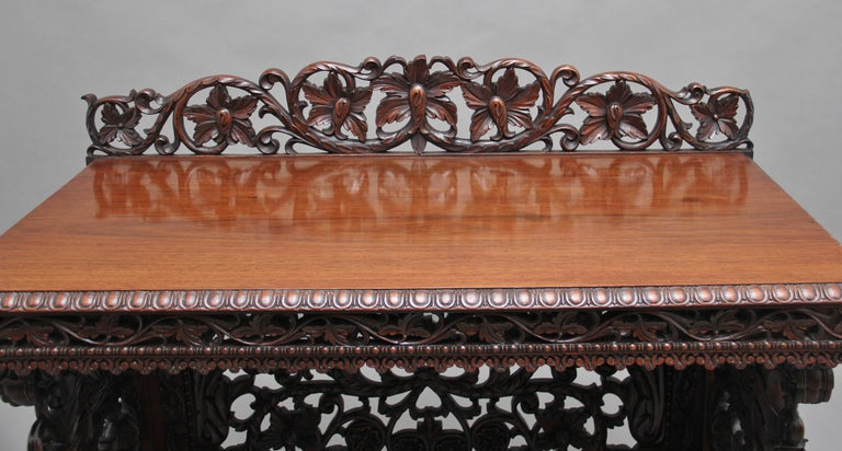 Padouk Pair of 19th Century Carved Console Tables For Sale
