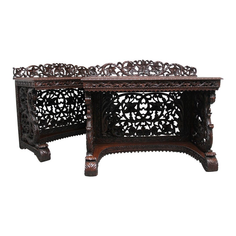 Pair of 19th Century Carved Console Tables For Sale