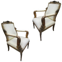 Pair of 19th Century Carved Giltwood Armchairs, Regency Period