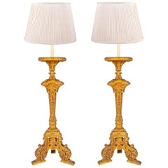 Pair of 19th Century Carved Giltwood Torchas / Lamps