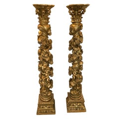 Pair of 19th Century Carved Giltwood Venetian Columns