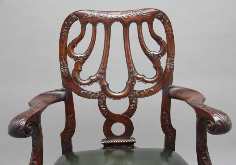 Pair of 19th Century Carved Mahogany Armchairs For Sale 3