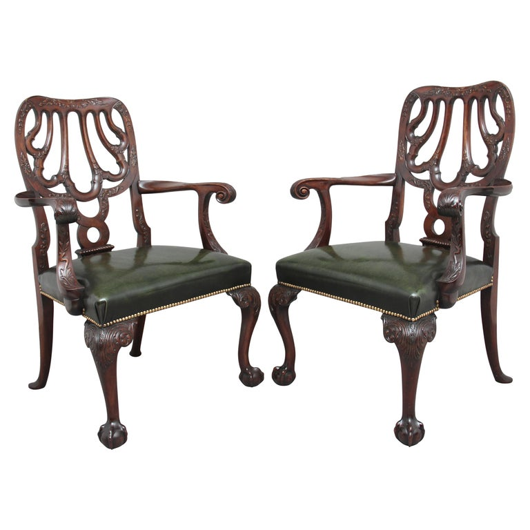 Pair of 19th Century Carved Mahogany Armchairs For Sale