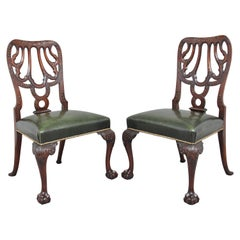 Pair of 19th Century carved mahogany side chairs in the Chippendale style
