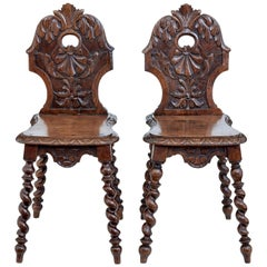 Pair of 19th Century Carved Oak Hall Chairs