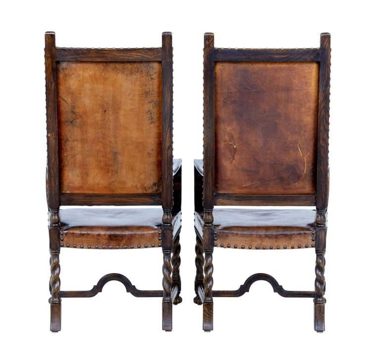 Late Victorian Pair of 19th Century Carved Oak Leather Armchairs For Sale