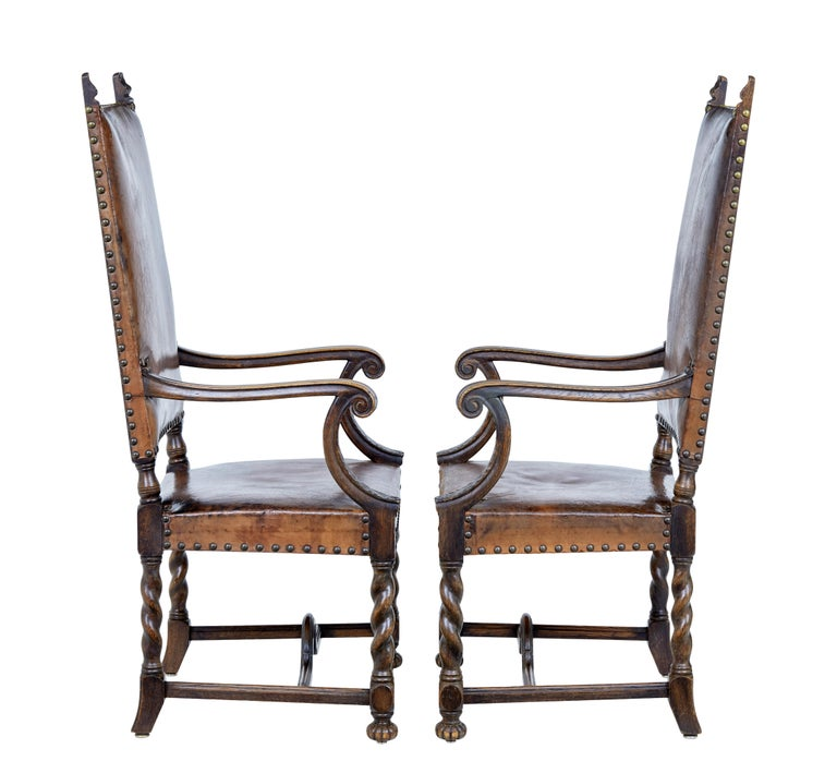 British Pair of 19th Century Carved Oak Leather Armchairs For Sale