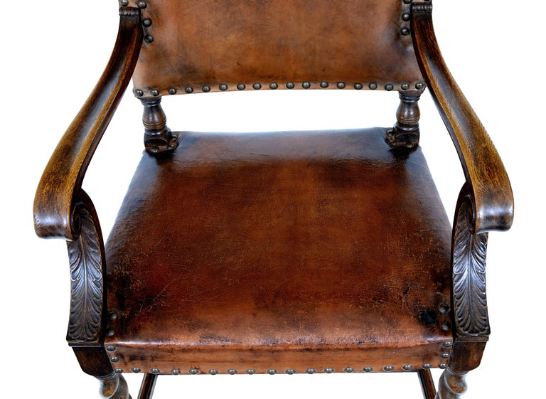 Pair of 19th Century Carved Oak Leather Armchairs In Fair Condition For Sale In Debenham, Suffolk