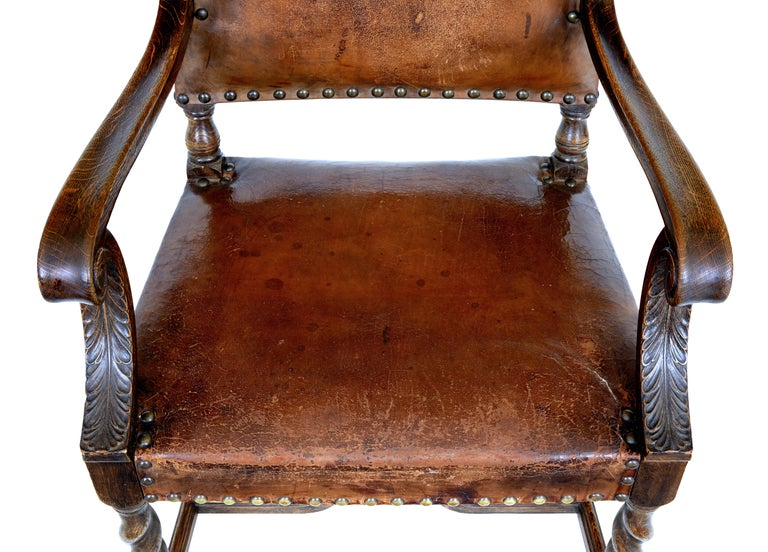 Pair of 19th Century Carved Oak Leather Armchairs For Sale 1