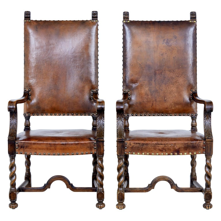Pair of 19th Century Carved Oak Leather Armchairs For Sale