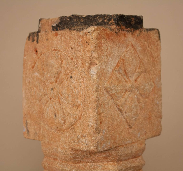 Pair of 19th Century Carved Stone Pillars For Sale 5