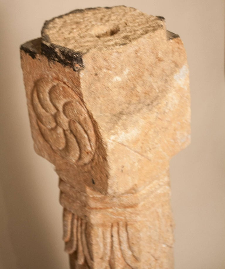 Pair of 19th Century Carved Stone Pillars For Sale 6