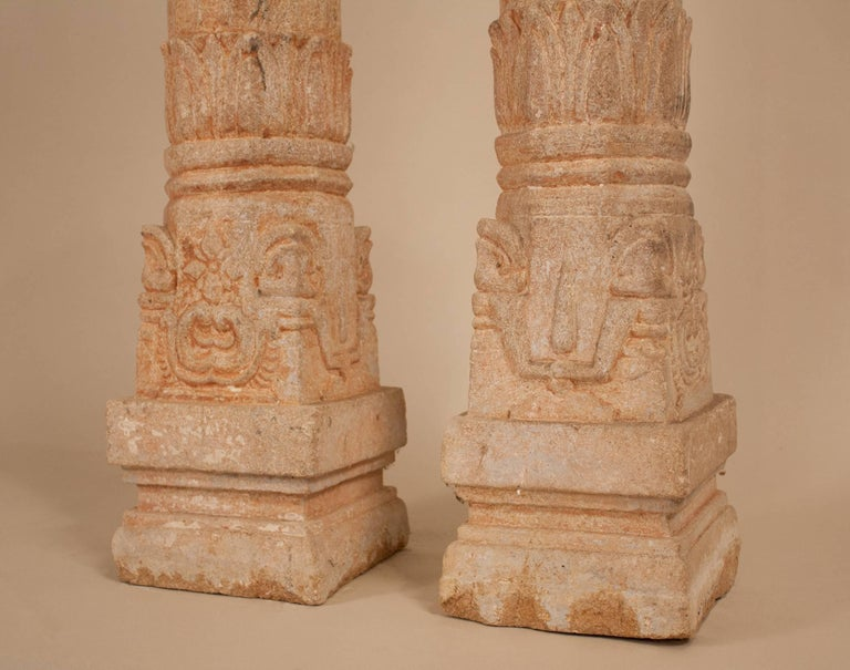 Indian Pair of 19th Century Carved Stone Pillars For Sale