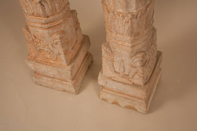 Pair of 19th Century Carved Stone Pillars In Good Condition For Sale In Shelburne Falls, MA
