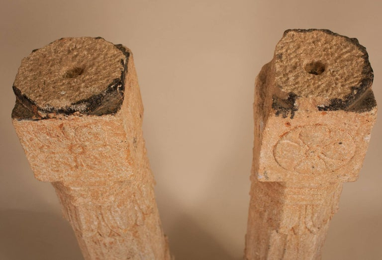 Pair of 19th Century Carved Stone Pillars For Sale 1