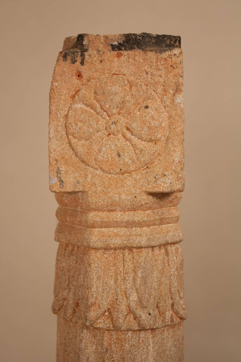 Pair of 19th Century Carved Stone Pillars For Sale 2