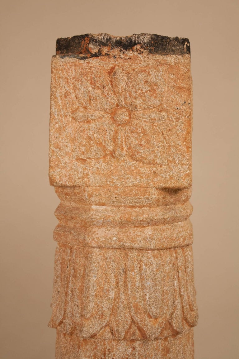Pair of 19th Century Carved Stone Pillars For Sale 3