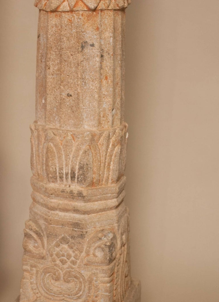 Pair of 19th Century Carved Stone Pillars For Sale 4