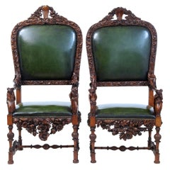 Pair of 19th Century Carved Walnut Florentine Renaissance Revival Armchairs