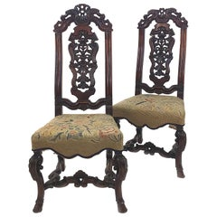 Pair of 19th Century Carved Walnut Side Chairs in the Style of Daniel Marot
