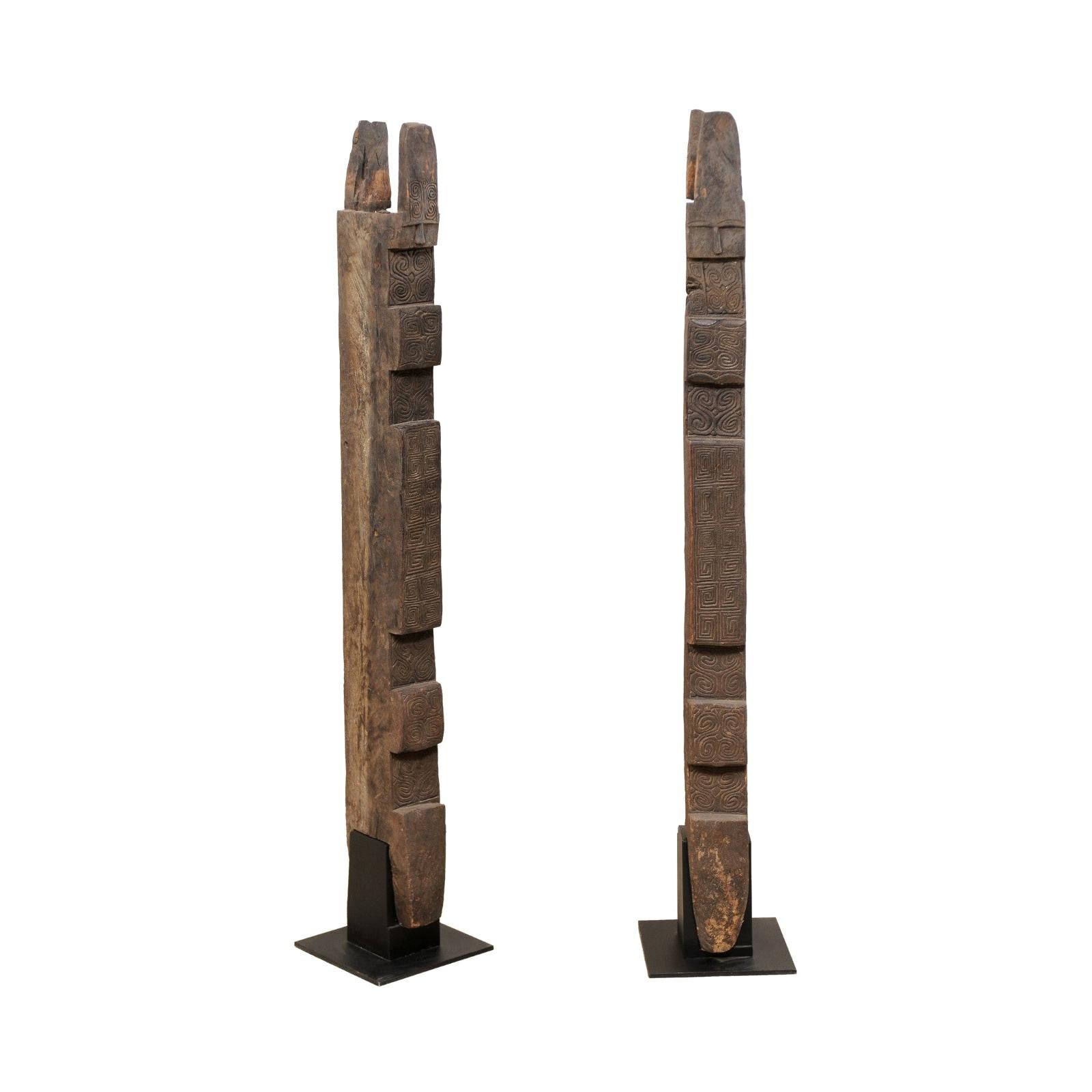 Pair of 19th Century Carved-Wood Belue Door Posts from Timor Island